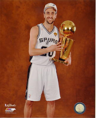 Manu Ginobili w/ NBA Champs Trophy 2014 Finals Champions San Antonio Spurs SATIN 8X10 Photo LIMITED STOCK