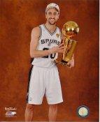 Manu Ginobili w/ NBA Champs Trophy 2014 Finals Champions San Antonio Spurs SATIN 8X10 Photo LIMITED STOCK