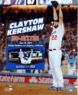 Clayton Kershaw No Hitter June 18, 2014 Dodger Stadium Los Angeles Dodgers SATIN 8X10 Photo