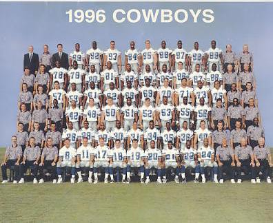 Dallas 1996 Cowboys Team Official Fan Club Card Stock with Small Creases SUPER SALE 8X10 Photo