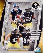 Le'Veon Bell, Heath Miller, Ben Roethlisberger, Troy Polamalu, Antonio Brown 2014 Pittsburgh Steelers Team SATIN 8x10 Photo