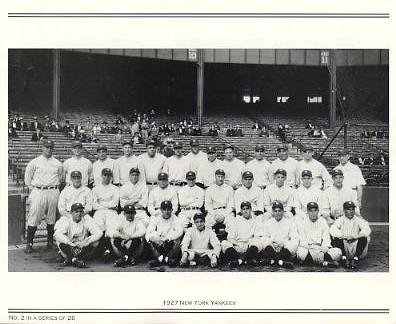 Yankees 1927 New York Team Photo Daily News with Headlines On Back / Glossy Paperstock Includes Top Load Holder 8X10 Photo