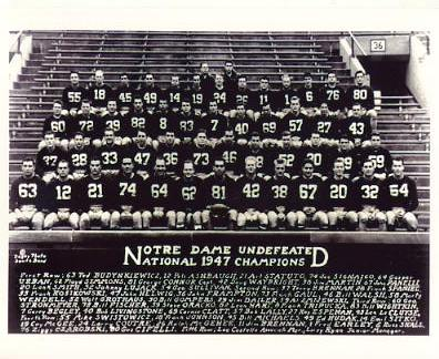 Notre Dame 1947 Undefeated Team National Champions 8X10 Photo