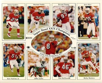 Deion Sanders, Merton Hanks, Bryant Young, Jerry Rice, Ken Norton, Steve Young, John Taylor, Tim McDonald, Ricky Watters 49ers 1994 San Francisco Super Bowl Team SUPER SALE 8X10 Photo
