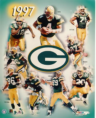 Dorsey Levens, Reggie White, Santana Dotson, Brett Favre, Robert Brooks, William Henderson, Mark Chmura, Antonio Freeman & Leroy Butler 1997 Super Bowl Champions Green Bay Packers LIMITED STOCK 8X10 Photo