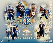 Ed McCaffrey, Jason Elam, John Elway, Shannon Sharpe, Terrell Davis & Neil Smith Super Bowl XXXII Denver Broncos LIMITED STOCK 8X10 Photo