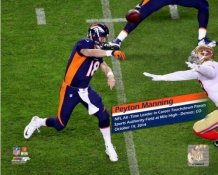 Peyton Manning 509 TD Passes All-Time Record  with banner (SIDE SHOT) Broncos  SATIN 8X10 Photo