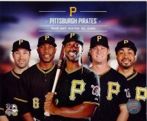 Pirates 2014 Pedro Alvarez,Starling Marte, Andrew McCutchen, Gerritt Cole, Neil Walker Pittsburgh Pirates SATIN 8X10 Photo