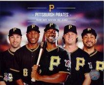 Pirates 2014 Pedro Alvarez,Starling Marte, Andrew McCutchen, Gerritt Cole, Neil Walker Pittsburgh Pirates SATIN 8X10 Photo