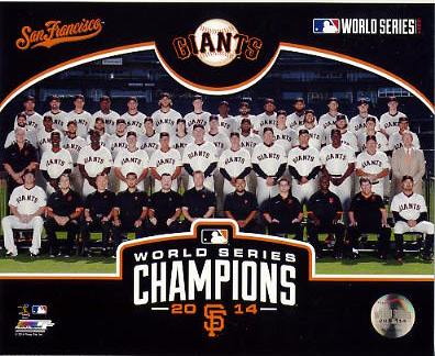 Giants 2014 World Series Champions Sit Down Composite San Francisco SATIN 8X10 Photo