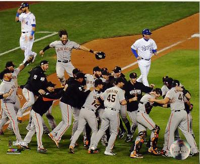 Giants 2014 World Series Champions Celebration on Field San Francisco SATIN 8X10 Photo