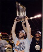 Madison Bumgarner with 2014 World Series Trophy San Francisco Giants SATIN 8X10 Photo