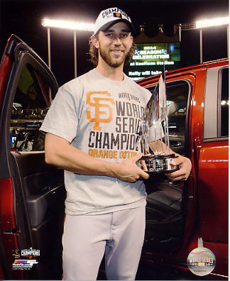 Madison Bumgarner with 2014 World Series MVP Trophy San Francisco Giants SATIN 8X10 Photo