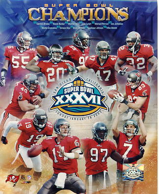 Keyshawn Johnson, Warren Sapp, John Lynch, Martin Gramatica, Brad Johnson, Mike Alstott, Ronde Barber, Michael Pittman, Simeon Rice, Joe Jurevicius, Derrick Brooks LIMITED STOCK Super Bowl XXXVII Tampa Bay Buccaneers 8X10 Photo