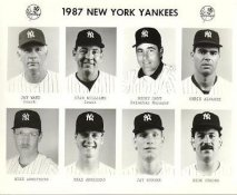 Yankees 1987 Jay Ward, Stan Williams, Bucky Dent, Chris Alvarez, Mike Armstrong, Brad Arnsberg, Jay Buhner, Rick Cerone New York Team Issued 8X10 Photo