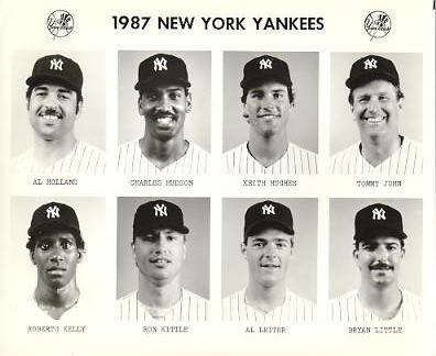 Yankees 1987 Al Holland, Charles Hudson, Keith Hughes, Tommy John, Roberto Kelly, Ron Kittle, Al Leiter, Bryan Little New York Team Issued 8X10 Photo