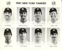 Yankees 1987 Al Holland, Charles Hudson, Keith Hughes, Tommy John, Roberto Kelly, Ron Kittle, Al Leiter, Bryan Little New York Team Issued 8X10 Photo