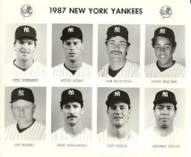 Yankees 1987 Phil Lombardi, Mitch Lyden, Don Mattingly, Bobby Meacham, Joe Niekro, Mike Pagliarulo, Dan Pasqua, Alfonso Pulido New York Team Issued 8X10 Photo
