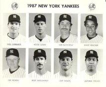 Yankees 1987 Phil Lombardi, Mitch Lyden, Don Mattingly, Bobby Meacham, Joe Niekro, Mike Pagliarulo, Dan Pasqua, Alfonso Pulido New York Team Issued 8X10 Photo
