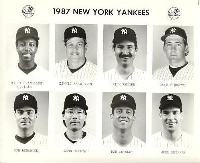 Yankees 1987 Willie Randolph, Dennis Rasmussen, Rick Rhoden, Dave Righetti, Ron Romanick, Lenn Sakata, Bob Shirley, Joel Skinner New York Team Issued 8X10 Photo