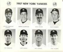 Yankees 1987 Willie Randolph, Dennis Rasmussen, Rick Rhoden, Dave Righetti, Ron Romanick, Lenn Sakata, Bob Shirley, Joel Skinner New York Team Issued 8X10 Photo