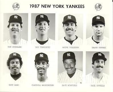 Yankees 1987 Tim Stoddard, Bob Tewksbury, Wayne Tolleson, Shane Turner, Gary Ward, Claudell Washington, Dave Winfield, Paul Zuvella New York Team Issued 8X10 Photo