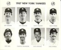 Yankees 1987 Tim Stoddard, Bob Tewksbury, Wayne Tolleson, Shane Turner, Gary Ward, Claudell Washington, Dave Winfield, Paul Zuvella New York Team Issued 8X10 Photo