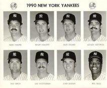 Yankees 1990 Rick Cerone, Brian Dorsett, Dave Eiland, Alvaro Espinoza, Bob Geren, Lee Guetterman, John Habyan, Mel Hall New York Team Issued 8X10 Photo