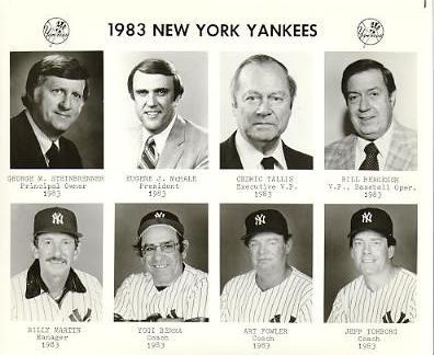 Yankees 1983 George Steinbrenner, Eugene McHale, Cedric Tallis, Bill Bergesch, Billy Martin, Yogi Berra, Art Fowler, Jeff Torborg New York Team Issued 8X10 Photo