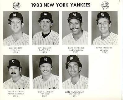 Yankees 1983 Bob Shirley, Roy Smalley, Dave Winfield, Butch Wynegar, Steve Balboni, Ben Callahan, Bert Campaneris New York Team Issued 8X10 Photo