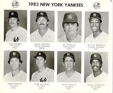 Yankees 1983 Dale Murray, Craig Nettles, Lou Piniella, Willie Randolph, Shane Rawley, Rick Reuschel, Dave Righetti, Andre Robertson New York Team Issued 8X10 Photo