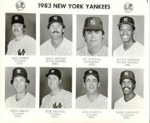 Yankees 1983 Dale Murray, Craig Nettles, Lou Piniella, Willie Randolph, Shane Rawley, Rick Reuschel, Dave Righetti, Andre Robertson New York Team Issued 8X10 Photo