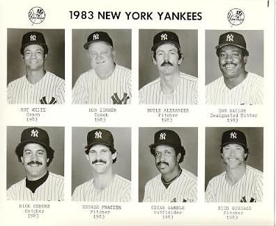 Yankees 1983 Roy White, Don Zimmer, Doyle Alexander, Don Baylor, Rick Cerone, George Frazier, Oscar Gamble, Rich Gossage New York Team Issued 8X10 Photo