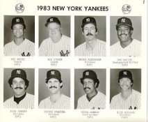Yankees 1983 Roy White, Don Zimmer, Doyle Alexander, Don Baylor, Rick Cerone, George Frazier, Oscar Gamble, Rich Gossage New York Team Issued 8X10 Photo