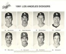 Dodgers 1991 Mike Hartley, Carlos Hernandez, Orel Hershiser, Jay Howell, Mike James, Stan Javier, Eric Karros, Barry Lyons LA Team Issued 8X10 Photo