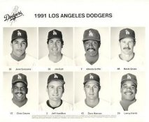 Dodgers 1991 Jose Gonzalez, Jim Gott, Alfredo Griffin, Kevin Gross, Chris Gwynn, Jeff Hamilton, Dave Hansen, Lenny Harris LA Team Issued 8X10 Photo