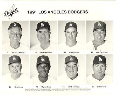Dodgers 1991 Tommy Lasorda, Joe Amalfitano, Mark Cresse, Joe Ferguson, Ben Hines, Manny Mota, Ron Perranoski, Bill Russell LA Team Issued 8X10 Photo