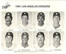Dodgers 1991 Juan Samuel, Mike Scioscia, Mike Sharperson, Zakary Shinall, Greg Smith, Darryl Strawberry, Dave Walsh, John Wetteland LA Team Issued 8X10 Photo