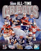 Steve Grogan, Tom Brady, Ty Law, Adam Vinatieri, Rob Gronkowski, Tedy Bruschi All Time Greats New England Patriots SATIN 8X10 Photo