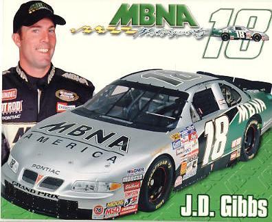 J.D. Gibbs Racing LIMITED STOCK Cardstock Paper 8X10 Photo