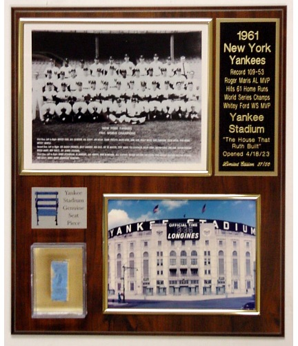 Roger Maris 1961 Yankees Seat Plaque Limited Edition of 50