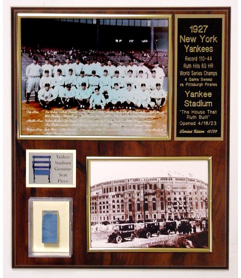 Babe  Ruth 1927 Yankees Seat Plaque Limited Edition of 50
